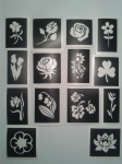 Flower  themed stencils for etching on to glass    daisy  tulip  daffodil  bluebell   rose